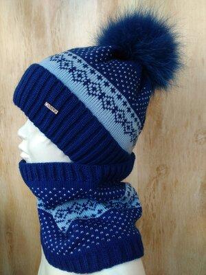 Зимний стильный набор на мальчика шапка снуд 2,3,4,5 лет Синий