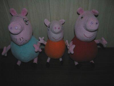 Свинка Пеппа сімя 3 шт Оригінал Німеччина 26 см