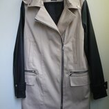 Куртка осенняя р.12 рукава кожзам с капюшоном