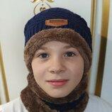 Тёплый комплект шапка хомут