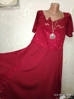 Шикарное Вечернее Нарядное Платье Марсала Дайвинг Стрейч-Гипюр На Пышную Красу