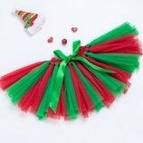 Юбка-Пачка ту ту красно зеленая новогодняя, тянется от 30см до 50см в талии, длина 21см
