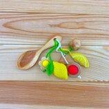 Грызунок-Ложка из можжевельника погремушка - лимон