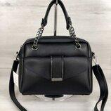 Черная деловая сумка саквояж небольшая на плечо