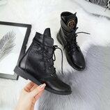 Акция Женские кожаные зимние ботинки Philipp Plein