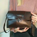 Красивая кожаная сумка гладкая, в комплекте 2 ручки