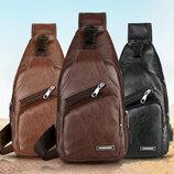 Мужская чоловіча сумка - городской рюкзак. Сумка слинг бананка. Кожаная сумка через плечо, 3 цвета