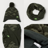 Комплект зимний шапка и снуд от H&M динозавры