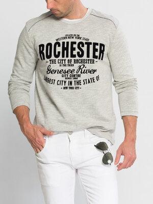 Продано: Серый мужской реглан LC Waikiki / Лс Вайкики с бархатной надписью Rochester