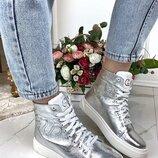 Женские зимние ботинки Gucci кожаные