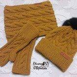 Женская зимняя шапка спицами