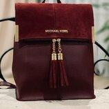 Женский рюкзак с замшевым клапаном Michael Kors из эко кожи. Бордо
