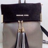 Женский рюкзак с замшевым клапаном Michael Kors из эко кожи. Бронза