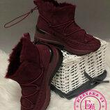 Зимние ботинки, полусапожки, угги на меху бордовые 37-40