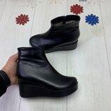 Зимние ботинки на танкетке, натуральная кожа и замш, внутри набивная шерсть, 35-41