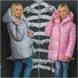 Стильная куртка осень зима oversize 42-46 два цвета