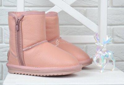 UGG Australia угги кожаные детские розовые на девочку на молнии