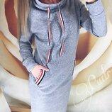 Теплое платье в спортивном стиле Respect Респект | Трехнитка| Норма, 42-44, 46-48 размер, 4 цвета