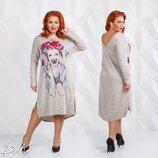 Платье Ангора Модель ак 0152 Размеры 50/53 ,54/56 Ткань Ангора софт принт