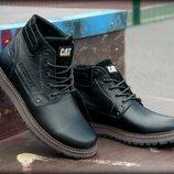 Кожаные зимние мужские ботинки натуральная шерсть и кожа CATERPILLAR