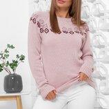 Вязаный женский свитер с красивым орнаментом. Есть цвета