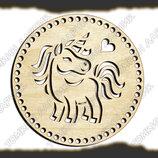 Круглое донышко Единорог для вязанных сумочек и корзин, диаметр 15см