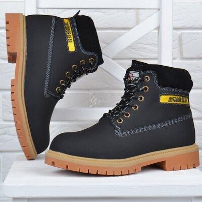 Мужские кожаные ботинки outdoor gear черные берцы утепленные