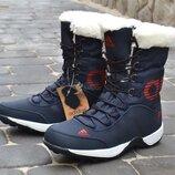 Adidas дутики женские кожаные зимние сапоги синие с красным