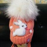Очень теплая шапка Кролик р44-48