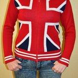 Теплая кофта, свитер на змейке guess с флагом великобритании
