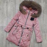Шикарная зимняя куртка для девочек 34-42 рр натуральный мех