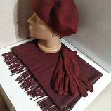 Комплект чешский фетровый берет tonak fezko и палантин с перчатками в тон бордовый