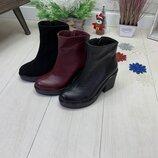 Зимние ботинки, натуральная кожа и замш, внутри набивная шерсть, 36-41