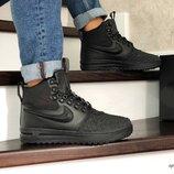 Зимние кроссовки Nike Lunar Force 1 Duckboot черные 8644