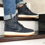 Зимние кроссовки Nike Lunar Force 1 Duckboot темно синий