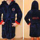 Стильный брендовый халат Armani для мальчиков 8-14 лет. Турция, флис .