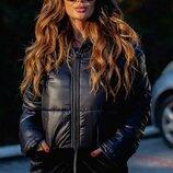 Супер модная курточка, комбинация с мехом, три цвета, размеры 42,44,46,48