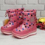Зимние сапожки дутики том.м на девочку р23-30 ботинки tom.m зимові чобітки для дівчинки
