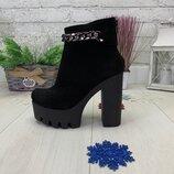 Зимние ботинки на высоком каблуке, натуральная кожа или замш