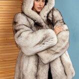 Стильно ярко модно шуба парка финский песец Италия новая коллекция