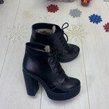 Зимние ботинки на шнуровке, натуральная кожа и замш, внутри набивная шерсть