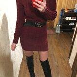 Крутое теплое вязаное платье в косы цвет бордо марсал remel london