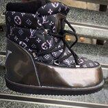 Женские угги луноходы Louis Vuitton Moon Boot , кожа натуральная
