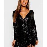 Черное вечернее платье в пайетках с v-образным декольте boohoo