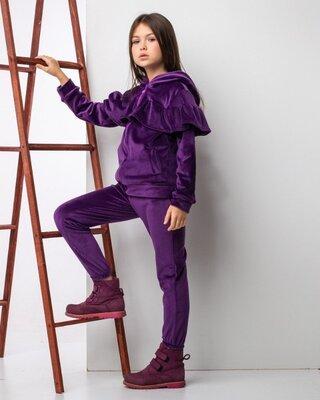 Теплый велюровый костюм для девочки