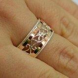 Обручальное кольцо из серебра с золотом обр25