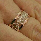 Обручальное кольцо из серебра с золотом обр27