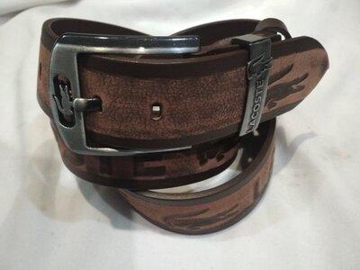 Кожаный мужской ремень реплика Lacoste, Лакост коричневый