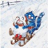 Картина по номерам Идейка. Животные, птицы Зимние гуляния 40 50см KHO4085