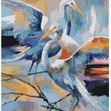 Картина по номерам. Животные, птицы Грациозные журавли 40 50см KHO4044